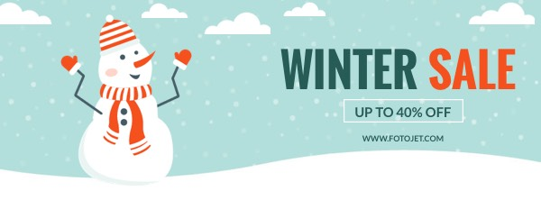 Snowman Winter Sale Facebook Cover Photo Template