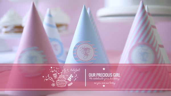 '.Girly Birthday Celebration YouTube Channel Art Template.'